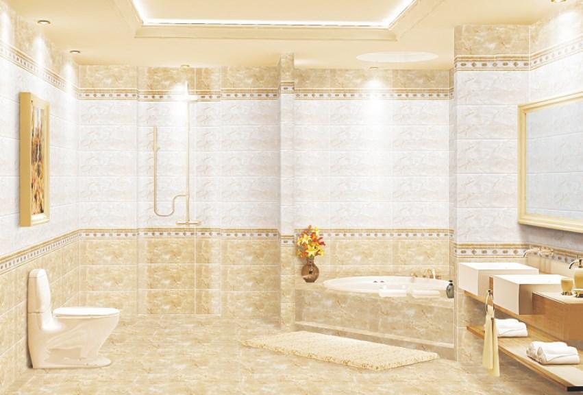 Pengaplikasian keramik dinding untuk kamar mandi dan dapur